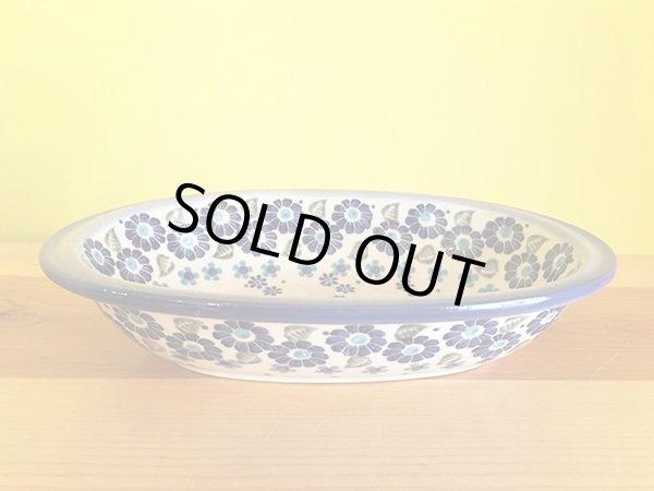 画像1: WIZA社 ポーリッシュポタリー グラタン皿 ブルーフラワー (1)