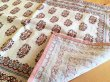 画像1: インド ブロックプリント ランチマット フラワーフレーム  ピンク (1)