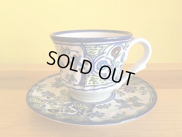 画像1: イラン 陶器 カップ&ソーサー 花 (1)