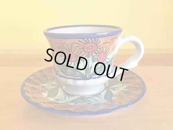 画像1: イラン 陶器 カップ&ソーサー 鳥 (1)