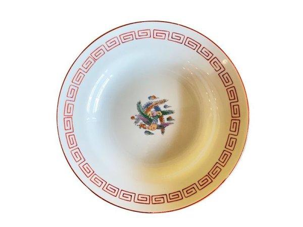 画像1: ヴィンテージ 中華 深皿 φ21cm 赤雷文と鳳凰 (1)