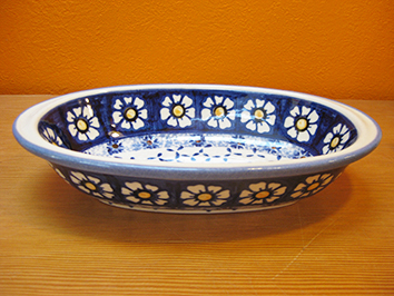 画像1: 【再入荷】WIZA社 ポーリッシュポタリー グラタン皿 ウィザブルー