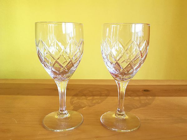 画像1: 日本製 ヴィンテージ ワイングラス ダイヤモンドパターン