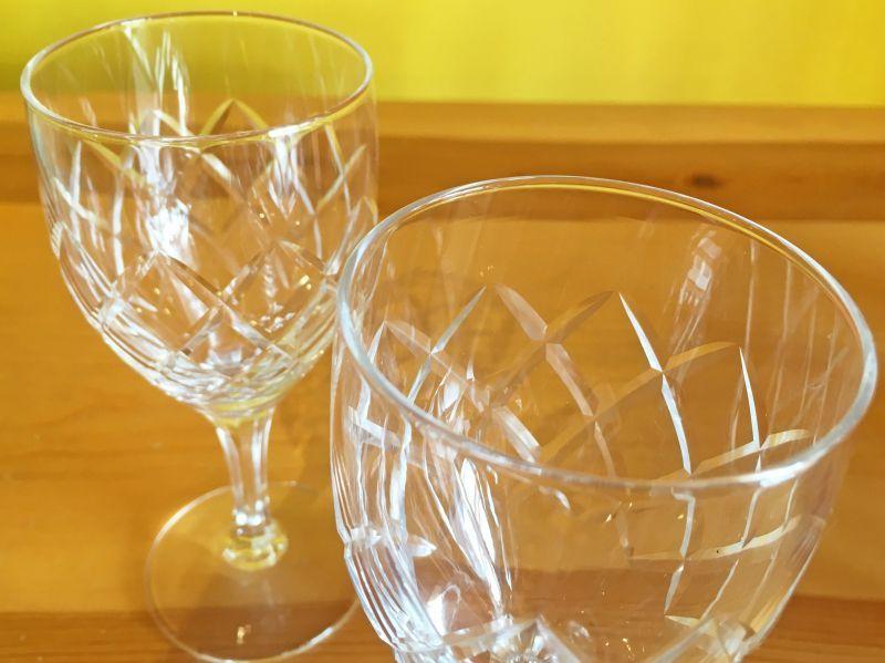 画像2: 日本製 ヴィンテージ ワイングラス ダイヤモンドパターン