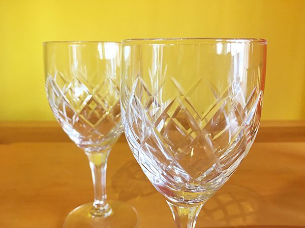 画像3: 日本製 ヴィンテージ ワイングラス ダイヤモンドパターン