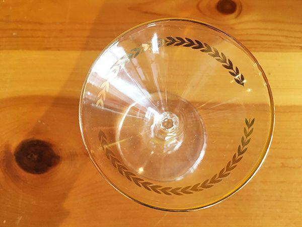 画像3: 日本製 ヴィンテージ カクテルグラス 月桂樹×ゴールドライン